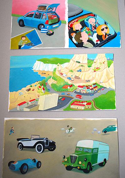 Illustraties uit: Op reis met de auto, Serie Willewete, Uitgeverij Clavis