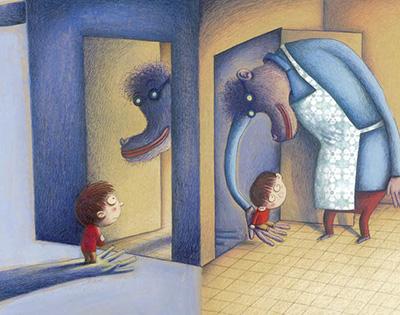 Illustratie uit 'Appelmoes' van Klaas Verplancke, uitgeverij De eenhoorn.